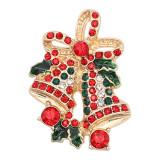 Navidad 20MM Bell snap chapado en oro con diamantes de imitación esmalte KC8105 encantos encajes joyería