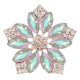 20MM flowers snap Gold Plated with  Opal Cyan rhinestone KC9300 charms snaps jewelry
