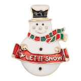 Navidad 20MM Muñeco de nieve snap gold Esmalte plateado KC8104 encantos broches joyería