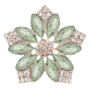 20MM flowers snap Gold Plated with green rhinestone KC9285 charms snaps jewelry
