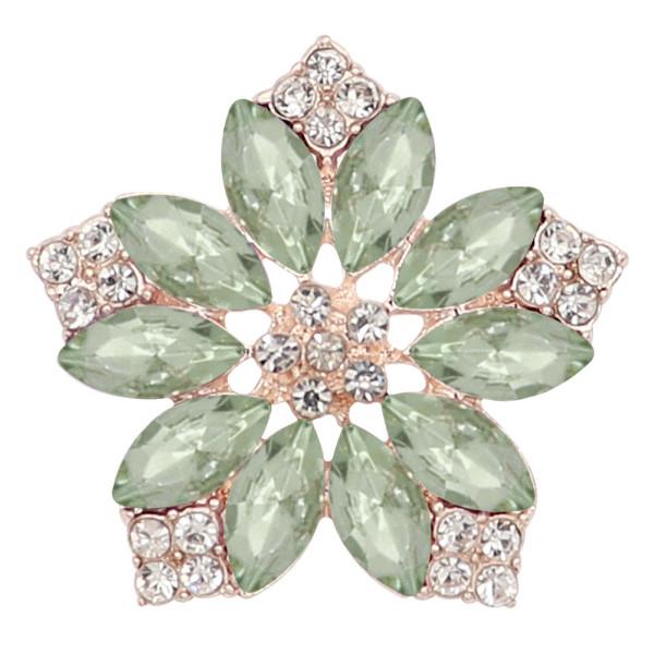 20MM fleurs snap plaqué or avec strass vert KC9285 charms snaps bijoux