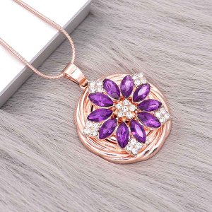 20MM flowers snap Gold Plated with  purple rhinestone KC9289 charms snaps jewelry