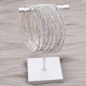 10 pcs/lot Rhinestones Sparkling Elastic Bracelet with 80pcs colored white rhinestones