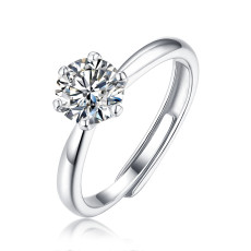 0.5-3 CT DEF VVS 6.5 mm klassischer Ring mit 6 Krallen Moissanite Diamond Sterling Silber Classic Ring Platinbeschichtung einstellbare Größe