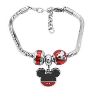 Stainless steel Charm Bracelet with 3 charms completed cartoon