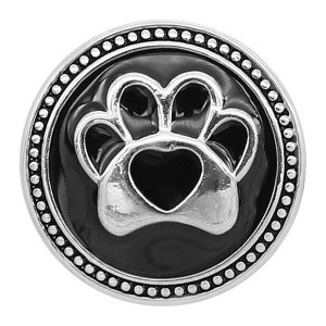 20MM Bear paw snap silver Plated with Black enamel charms KC9304 snaps jewerly