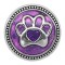 20MM Bear paw snap silver Plated with purple enamel charms KC9303 snaps jewerly