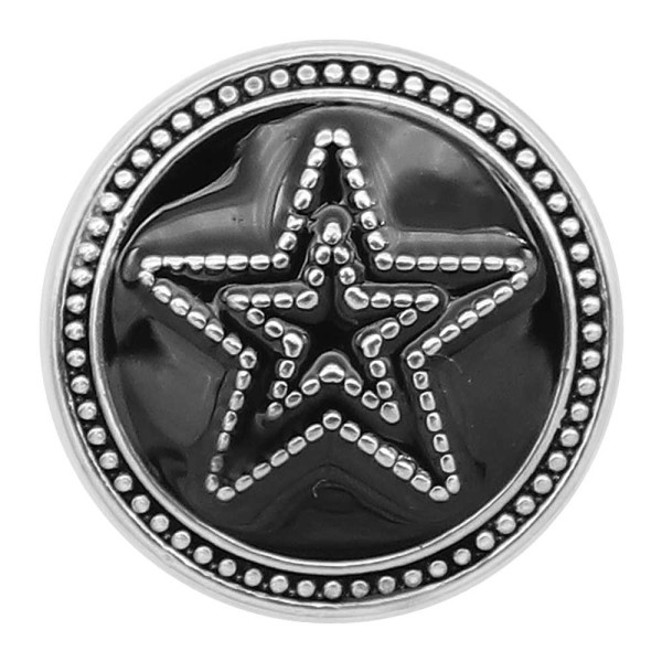 20MM Five-pointed star snap silver Plated with Black enamel charms KC9310 snaps jewerly