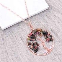 Pierre naturelle-agate arbre de vie pendentif de bijoux de style de mode collier
