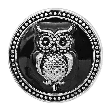 20MM Owl snap silver Plated with Black enamel charms KC9305 snaps jewerly