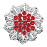 20MM Flowers snap silver Plated Red Charms de diamantes de imitación KC9316 se ajusta a presión