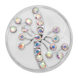 20MM snap silver Plated  rhinestones with White enamel charms KC8107 snaps jewerly