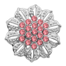20MM Flowers Snap versilbert Pink Strass Charms KC9317 Snaps Jewerly