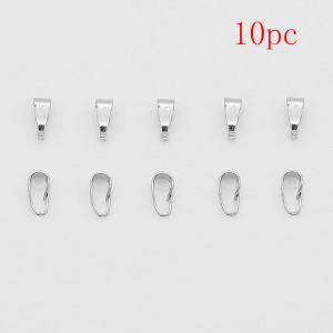 10pcs / lot 3x7mm Cobre Broche colgante conector clips color plata