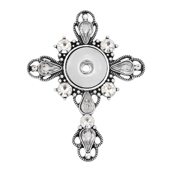 Colgante Art Cross de encaje chapado en plata Snap 20MM broches KC0479
