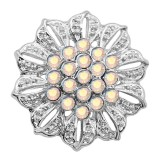 20MM Flowers snap silver Plated rhinestones charms KC9313 snaps jewerly
