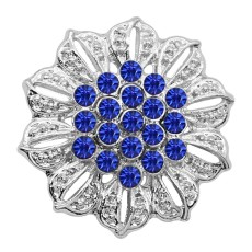 20MM Flowers Snap versilbert Blau Strass Charms KC9314 Snaps Jewerly