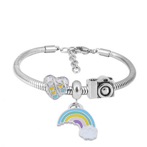 Stainless steel Charm Bracelet with 3 charms Rainbow colorful completed cartoon