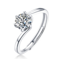 0.5-3 CT DEF VVS 6.5 mm Moissanite Diamond Cherish Ring Sterling Silber Flying Star Ring Platinbeschichtung einstellbare Größe