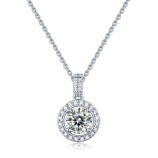 1 CT DEF VVS 6.5mm Moissanite Rich round cake Necklace  Sterling Silver Pendant Necklace Platinum plating 45CM chain