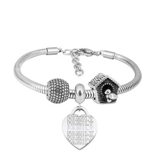 Edelstahl-Charm-Armband mit 3-Charms