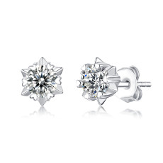 0.5 - 1CT DEF VVS 5mm Moissanite Snowflake studs earrings  Sterling Silver Snow Stud Earring Platinum plating 2pcs/pair