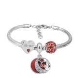 Stainless steel Charm Bracelet with 3 charms red forever completed cartoon