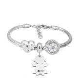 Stainless steel Charm Bracelet with 3 charms babygirl love completed cartoon