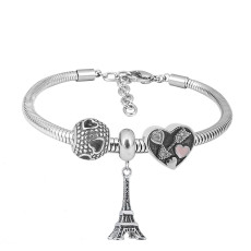 Stainless steel Charm Bracelet with 3 charms Eiffel tower completed cartoon