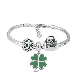 Stainless steel Charm Bracelet with 3 charms green Cross Game completed cartoon