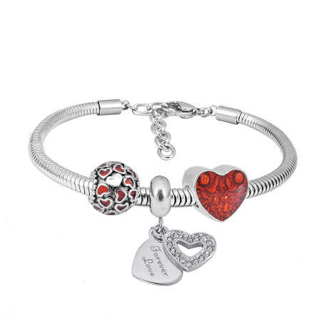 Stainless steel Charm Bracelet with 3 charms red heart completed cartoon