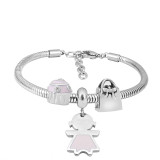 Stainless steel Charm Bracelet with 3 charms girl pink completed cartoon