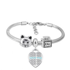 Stainless steel Charm Bracelet with 3 charms loveheart completed cartoon