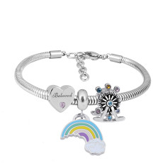 Stainless steel Charm Bracelet with 3 charms Rainbow completed cartoon
