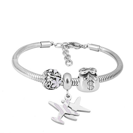 Stainless steel Charm Bracelet with 3 charms aircraft completed cartoon