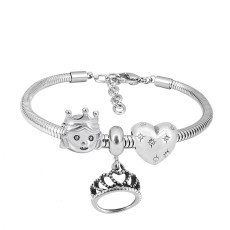 Stainless steel Charm Bracelet with 3 charms Princess Crown completed cartoon