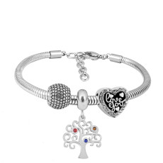 Stainless steel Charm Bracelet with 3 charms Tree of life completed cartoon