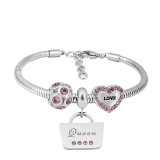 Pulsera con dijes de acero inoxidable con dijes 3 queen love purple dibujos animados completos