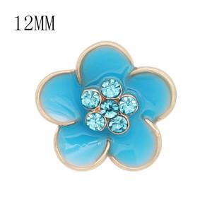 12MM пружинные позолоченные цветы Голубые эмалевые брелоки KS7146-S защелкиваются ювелирно