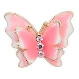20MM Snap Gold Plated Butterfly Pink Emaille Charms KC8119 Snaps Jewerly