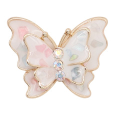 20MM snap gold Plated  Butterfly Multicolor enamel with shell charms KC8115 snaps jewerly