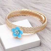 12MM snap gold Plated Flowers Blue enamel charms KS7146-S snaps jewerly