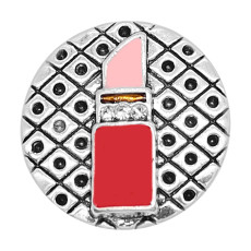 20MM Snap versilberter Lippenstift Emaille Charms KC8114 schnappt edel