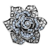 20MM snap Silver Plated Flowers With Blue rhinestones charms KC8129 snaps jewerly