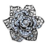 20MM snap Fleurs en plaqué argent avec strass bleus charme KC8129 s'enclenche joaillier