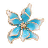 20MM snap gold Plated Flowers Blue enamel charms KC8127 snaps jewerly