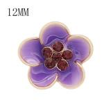 12MM Snap vergoldete Blumen lila Emaille Charms KS7147-S schnappt schmuck