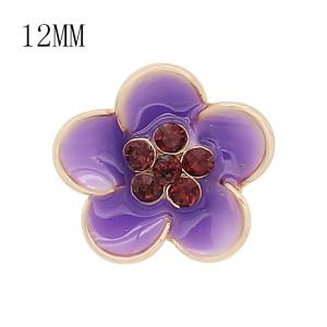 12MM защелкивающиеся позолоченные цветы фиолетовые эмалевые брелоки KS7147-S украшают украшения