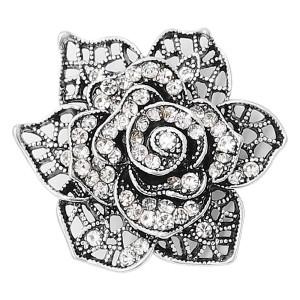 20MM snap Посеребренные цветы с белыми стразами Подвески KC8130 защелкиваются ювелирно