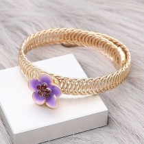 12MM snap gold Plated Flowers purple enamel charms KS7147-S snaps jewerly